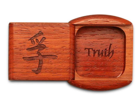 "Top View of a 2"" Flat Wide Padauk with laser engraved image of Truth"
