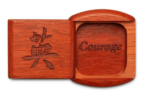 "Top View of a 2"" Flat Wide Padauk with laser engraved image of Courage"