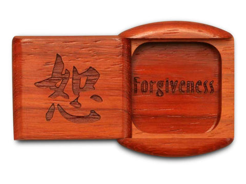 "Top View of a 2"" Flat Wide Padauk with laser engraved image of Forgiveness"