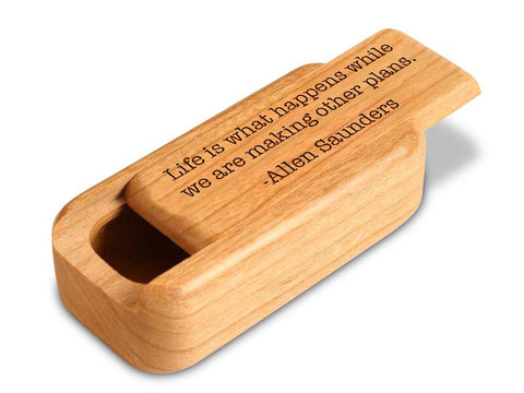 "Top View of a 3"" Med Narrow Cherry with laser engraved image of Quote -Allen Saunders"