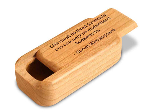 "Top View of a 3"" Med Narrow Cherry with laser engraved image of Quote -Kierkegaard"