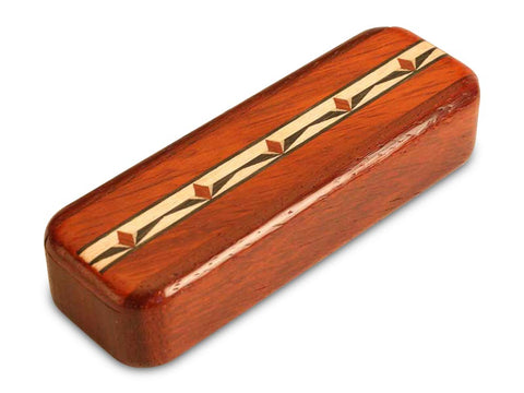 "Top View of a 4"" Med Narrow Padauk with inlay pattern of Tulips Inlay"