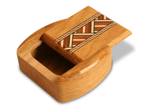 "Top View of a 2"" Med Wide Teak with inlay pattern of Zig Zag Inlay"
