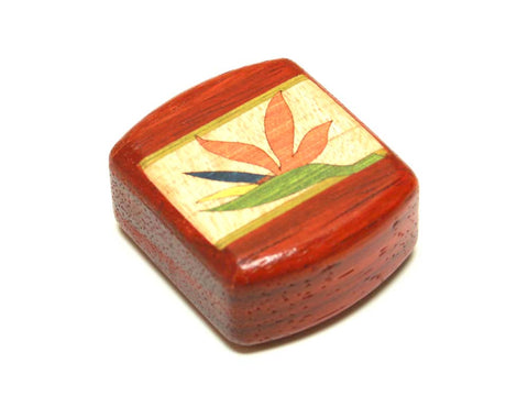 "Top View of a 2"" Med Wide Padauk with marquetry pattern of Birds of Paradise Marquetry"