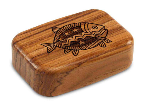 "Top View of a 3"" Med Wide Teak with laser engraved image of Primitive Fish"