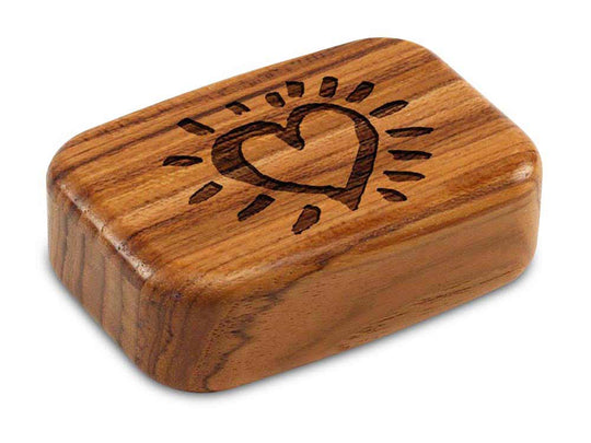 "Top View of a 3"" Med Wide Teak with laser engraved image of Heart Glow"