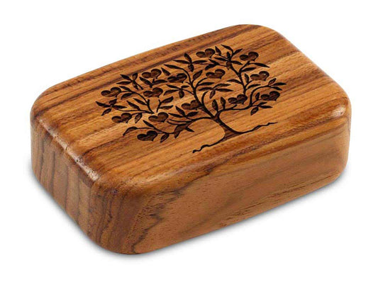 "Top View of a 3"" Med Wide Teak with laser engraved image of Heart Tree"