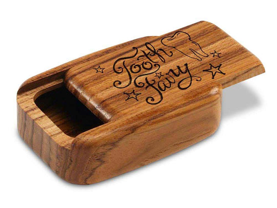 "Opened View of a 3"" Med Wide Teak with laser engraved image of Tooth Fairy"