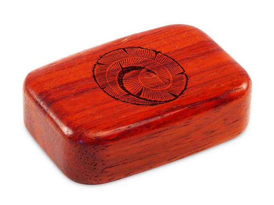 "Top View of a 3"" Med Wide Padauk with laser engraved image of Curling Leaf"