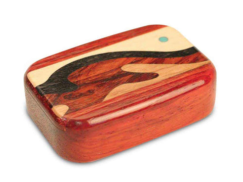 "Top View of a 3"" Med Wide Padauk with marquetry pattern of Wave Marquetry"