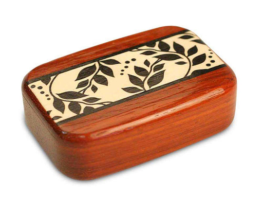 "Top View of a 3"" Med Wide Padauk with marquetry pattern of Black and White Vine Marquetry"