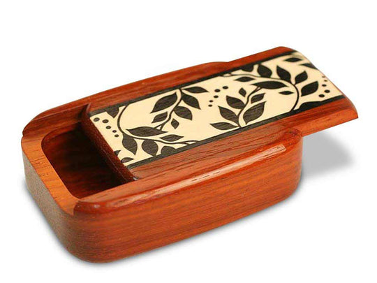 "Opened View of a 3"" Med Wide Padauk with marquetry pattern of Black and White Vine Marquetry"