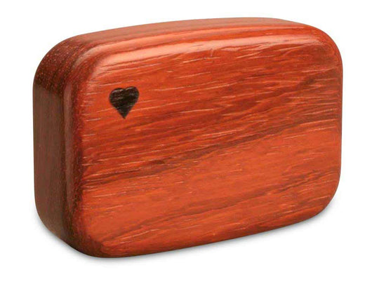 "Back View of a 3"" Med Wide Padauk with marquetry pattern of Black and White Vine Marquetry"