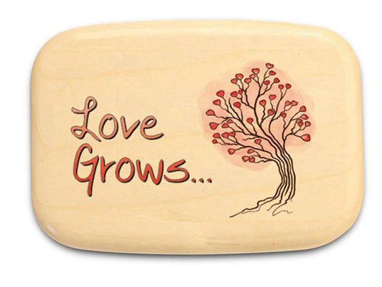 "Top View of a 3"" Med Wide Aspen with color printed image of Love Grows"