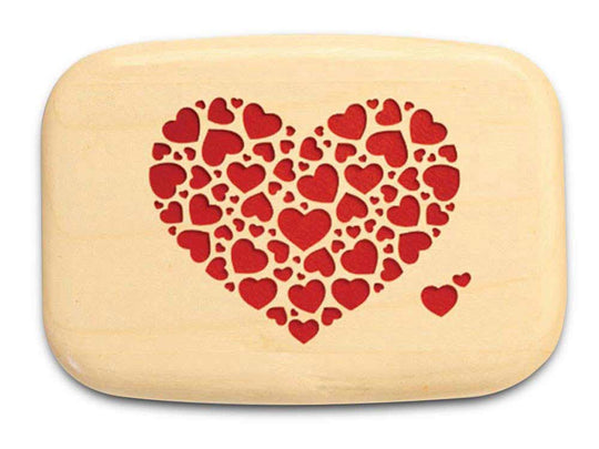 "Top View of a 3"" Med Wide Aspen with color printed image of Heart of Hearts"