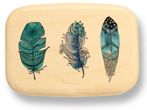 "Top View of a 3"" Med Wide Aspen with color printed image of Feather Trio"