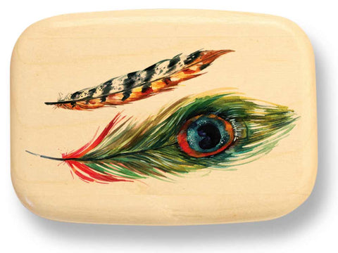 "Top View of a 3"" Med Wide Aspen with color printed image of Two Feathers"
