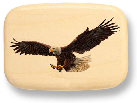 "Top View of a 3"" Med Wide Aspen with color printed image of Eagle Flight"