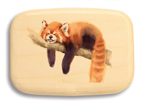 "Top View of a 3"" Med Wide Aspen with color printed image of Red Panda"
