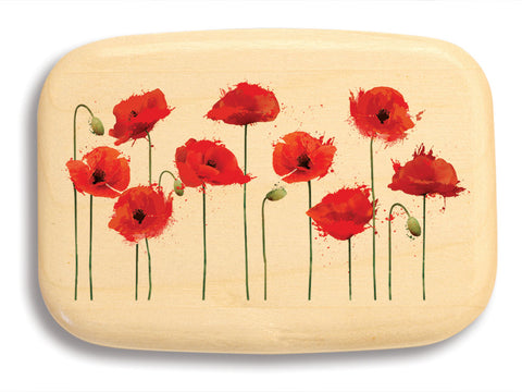 "Top View of a 3"" Med Wide Aspen with color printed image of Poppies"