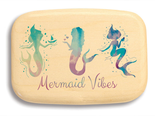 "Top View of a 3"" Med Wide Aspen with color printed image of Mermaid Vibes"