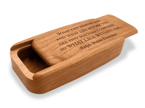 "Angled Top View of a 4"" Med Wide Cherry with laser engraved image of Quote –Emerson Within"