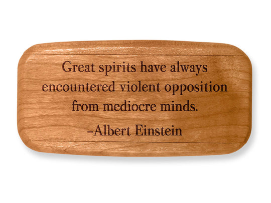 "Top VIew of a 4"" Med Wide Cherry with laser engraved image of Quote -Albert Einstein"