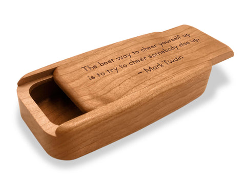 "Angled Top View of a 4"" Med Wide Cherry with laser engraved image of Quote –Mark Twain Cheer"