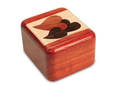 "Top View of a 2"" Tall Wide Padauk with inlay pattern of  with marquetry pattern of Heart Marquetry Light"
