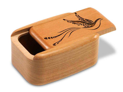 "Top View of a 3"" Tall Wide Cherry with laser engraved image of Fantasy Bird"