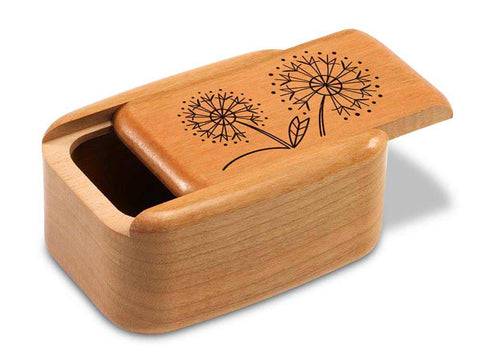 "Top View of a 3"" Tall Wide Cherry with laser engraved image of Dandelions"