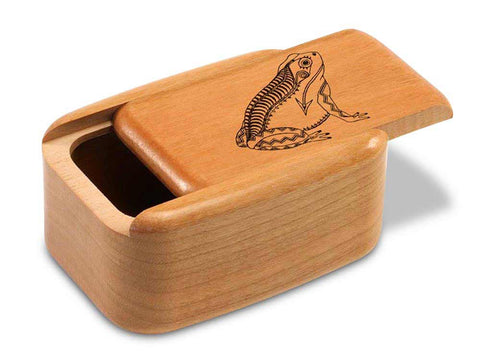 "Top View of a 3"" Tall Wide Cherry with laser engraved image of Heartline Frog"
