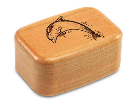 "Top View of a 3"" Tall Wide Cherry with laser engraved image of Dolphin"