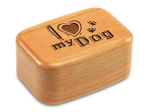 "Top View of a 3"" Tall Wide Cherry with laser engraved image of I Heart My Dog"
