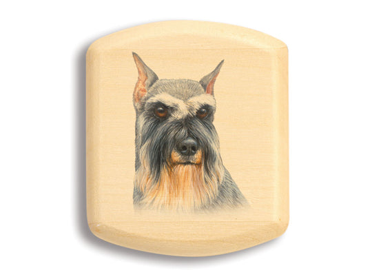 "Top View of a 2"" Flat Wide Aspen with color printed image of Schnauzer"