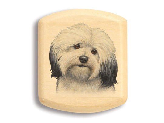 "Top View of a 2"" Flat Wide Aspen with color printed image of Havanese"