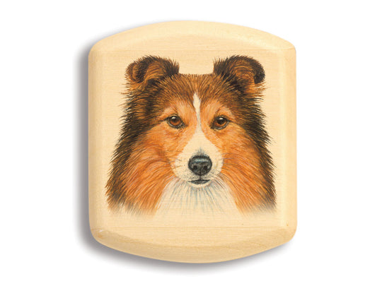 "Top View of a 2"" Flat Wide Aspen with color printed image of Shetland Sheepdog"