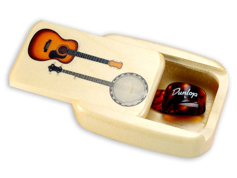 Open View of a Treasure Box with color printed image of Includes a Guitar Finger Pick
