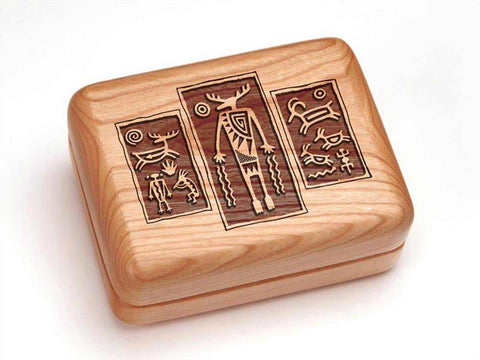 "Top View of a 4x3"" w/ 12 Function Pocket Tradesman with laser engraved image of Petroglyph Triptych"