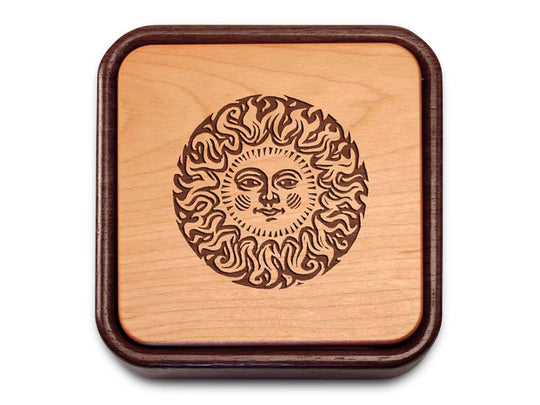 Top View of a Terra Flip-Top with laser engraved image of Sun