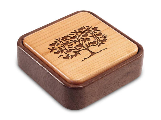 Angled Top View of a Terra Flip-Top with laser engraved image of Heart Tree
