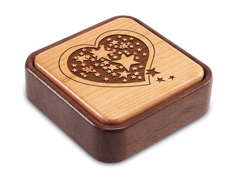 Angled Top View of a Terra Inside Engraved Flip-Top with laser engraved image of Heart/Stars
