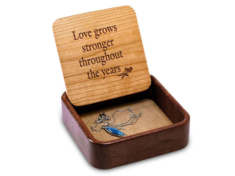 Angled Top View of a Terra Inside Engraved Flip-Top with laser engraved image of Love Grows Tree