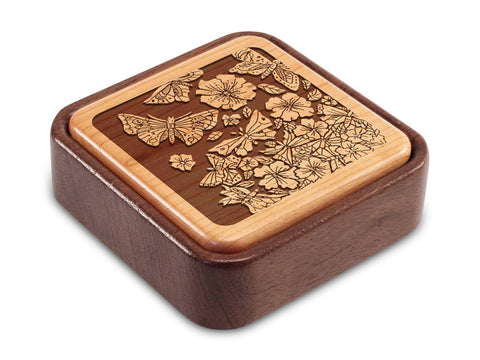 Angled Top View of a Terra Photo Flip-Top with laser engraved image of Flowers & Butterflies