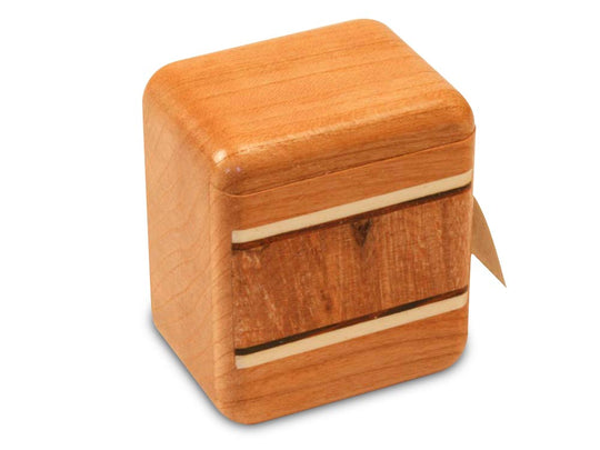 Cherry Stamp Box with inlay pattern of Burl Maple Inlay
