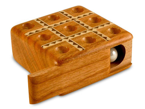 Top View of a Tic-Tac-Toe Cherry Inlay Marble Game
