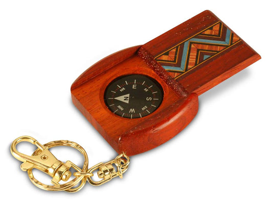 Open View of a Large Padauk Compass Keychain