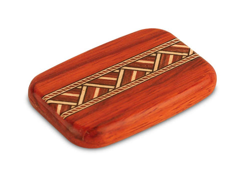 Open View of a Padauk Secret Mirror Box with inlay pattern of Zig Zag Inlay