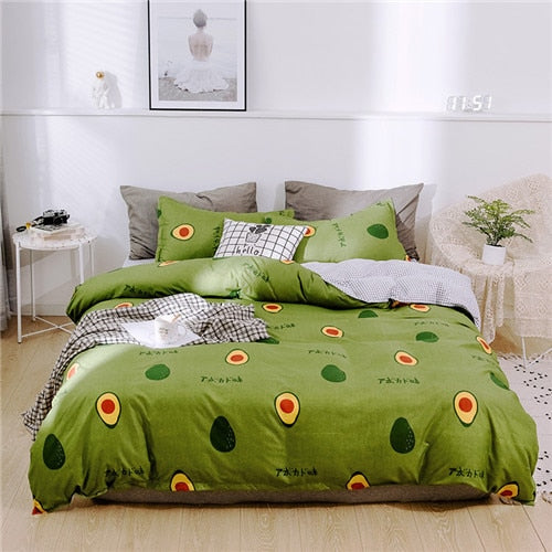 Reactive Printing Flower Duvet Cover Set - Kanugi