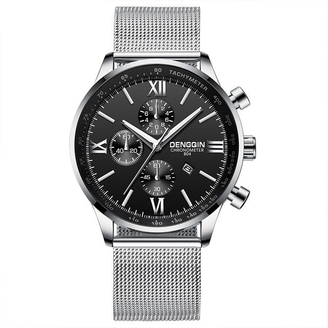Stainless Steel Casual Quartz Analog Date Wristwatch